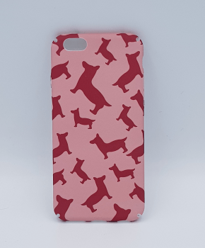 Voor IPhone 6 / 6S hoesje  - red dogs on pink