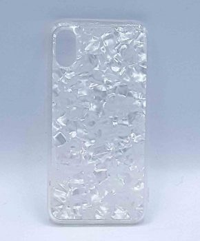 Voor IPhone XR  -  half transparant hoesje - white flakes