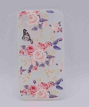 iPhone XR - hoesje - pink roses with butterfly