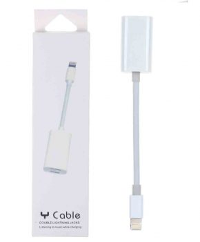 8 pin adapter splitter 2 in 1 - opladen en audio - wit - voor iPhone 7 / 8