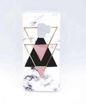 Voor Samsung Galaxy S9 – hoesje – White marble triangle