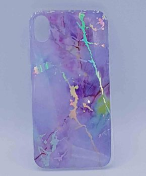 Voor IPhone XR - hoesje - lila marble flash