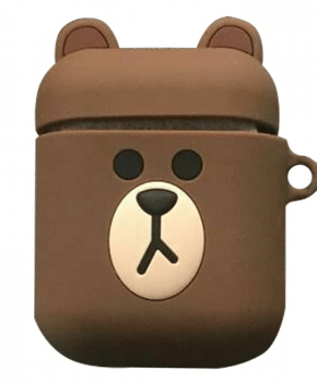 Cartoon Airpods Silicone Case Cover Hoesje voor Apple Airpods - Brown bear - met karabijn