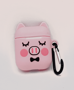 Cartoon Silicone Case voor Apple Airpods - cute piggy sleep - met karabijn