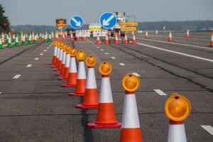 cones on road