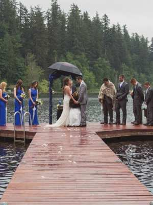 Renton Spring Lake Wedding on a Dock in the rain by Gsquared Weddings