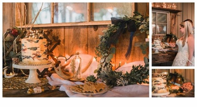 Winter Wedding Cake Table at the Lookout Lodge in Snohomish Pinecones, Snow, Frost, Antlers, Gold, Green, Birch Cake, Wreath, Bride and Groom, Christmas Lights