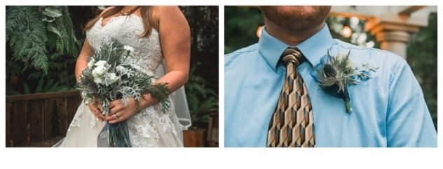 Winter Wedding Bouquet and Boutinneire at the Lookout Lodge in Snohomish Pinecones, Snow, Frost, Antlers, Gold, Green