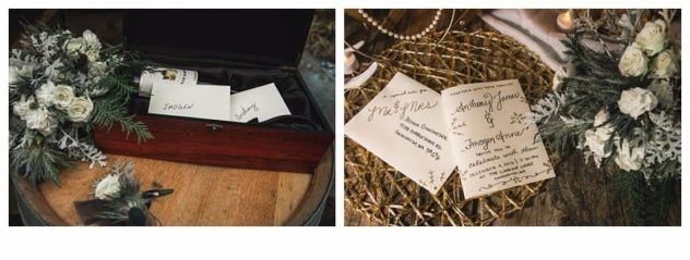 Winter Wedding at the Lookout Lodge in Snohomish Wine and Letter Box for Bride and Groom, Bouquet and Boutonniere, Invitation