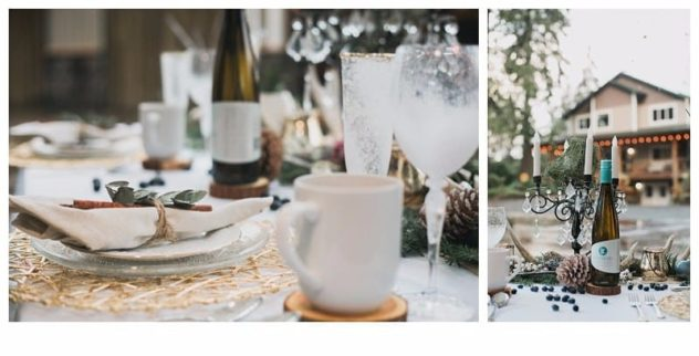 Winter Wedding at the Lookout Lodge in Snohomish tablescape, gold, green, brown, navy blue, cocoa mug, frost, eucalyptus, wine, antlers, pinecones