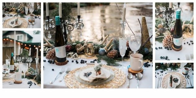 Winter Wedding at the Lookout Lodge in Snohomish tablescape, gold, green, brown, navy blue, cocoa mug, frost, eucalyptus, wine, antlers, pinecones, snowflakes, berries, mercury glass, ornaments