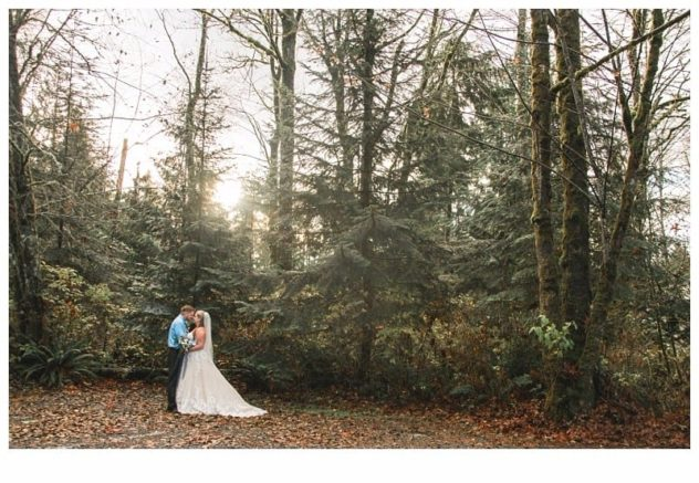 Winter Wedding at the Lookout Lodge in Snohomish bride and groom, leaves, evergreens, sunshine, mist, frost