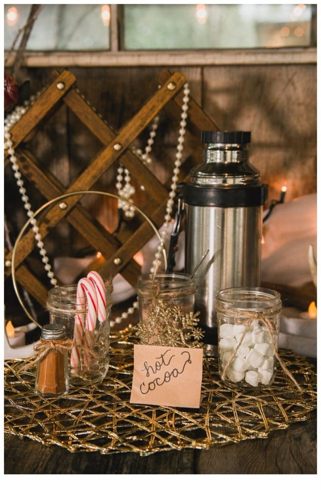 Winter Wedding at the Lookout Lodge in Snohomish hot cocoa bar, marshmallows, cinnamon, candy canes, pearls, gold