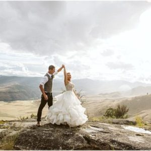 winthrop elopement on a mountain top bride and groom dancing in the sunshine snohomish and seattle wedding photography