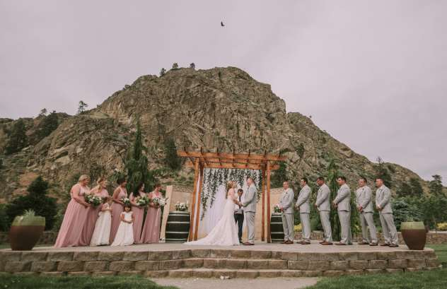 Shadow Mountain Events wedding ceremony with mountain backdrop in Chelan