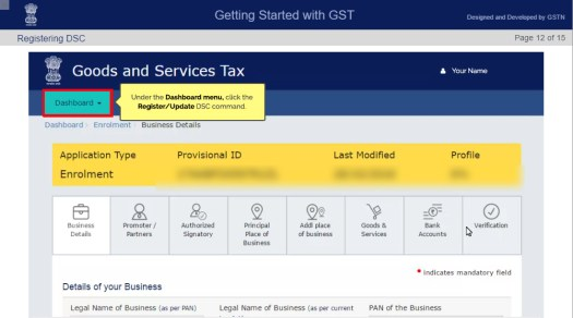 GST Enrollment Dashboard Display