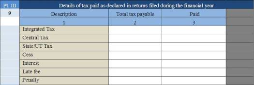 information of tax paid as announced in returns
