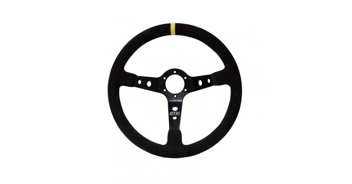 GT2i Race Leather Steering Wheel Black/Black 90mm