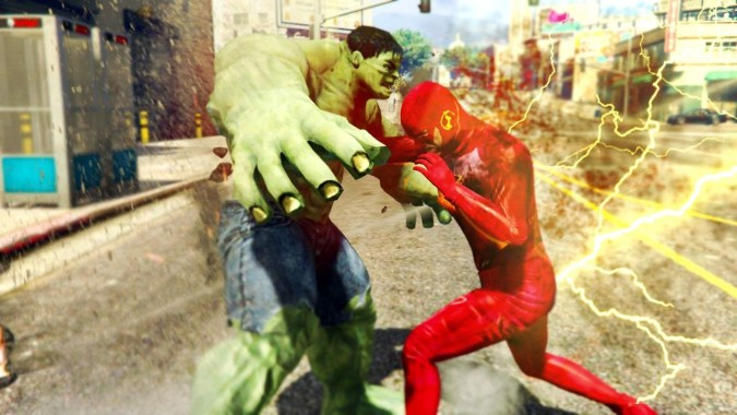 GTA 5 MODS - THE FLASH VS THE INCREDIBLE HULK! GTA 5 SUPERHERO BATTLE! (GTA  5 Mods)