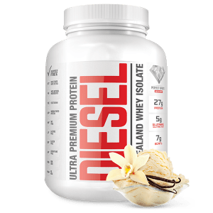 Diesel New Zealand Whey Isolate Protein - French Vanilla. DIESEL NEW ZEALAND WHY ISOLATE PROTEIN IS VEGETARIAN, UNDENATURED, NON GMO, NO MSG, MADE WITH NATURAL INGREDIENTS AND IT'S FREE OF BANNED SUBSTANCE, LACTOSE, GLUTEN, ASPARTAME, AND NUT.