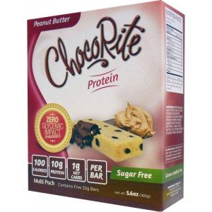 ChocoRite Peanut Butter Box of 5 - 32g (Sugar-Free/Gluten-Free/No Maltitol) - Finally a delicious moist protein bar with 1/2 the calories & twice the fiber! A great nutritional snack that works with most diets plans
