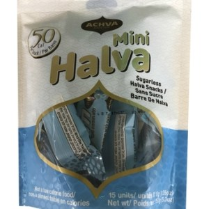 Achva Sugarless Sesame Halva Mini Pack 15x10g. Kosher, Sugarless, low carb