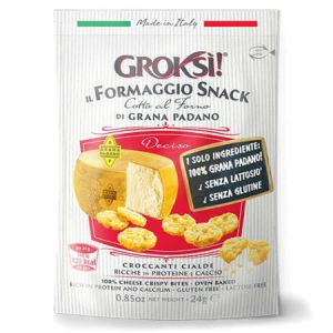 GrokSi Crispy cheese Bites Deciso 60g. Gluten Free, Lactose Free, Low carb, Oven Baked, High Protein, Does Not Require Refrigeration.