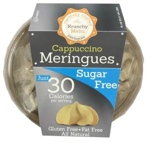 Krunchy Melts Meringues Cappuccino 57g. All Natural, Sugar free, Gluten free, Fat Free, Kosher