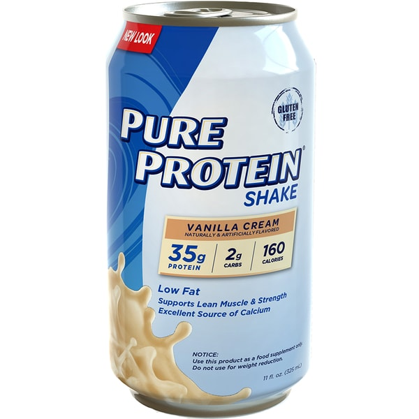 Pure Protein Shake Vanilla Cream 325ml. Low fat, Low Carb, High Protein. Supports Lean Muscle & Strength Excellent Source of Calcium.