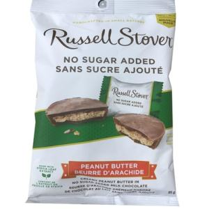 Russell Stover No Sugar Added Peanut Butter 85g. Peanut Butter in no Sugar added Milk Chocolate, Handcrafted in Small Batches, Made With Stevia Leaf, Guarantee of Quality & Freshness.