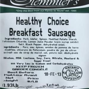 Stemmler's Healthy Choice Breakfast Sausages 0.93lb. Gluten Free, MSG Free, Lactose Free, Soy Free, Corn Free, Nitrate Free, Mustard and Sugar Free