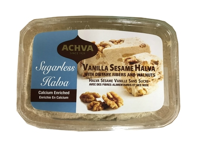 Achva Sugarless Vanilla Sesame Halva With Fiber & Walnuts 400g. Kosher, Sugarless