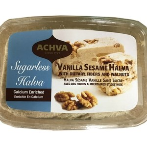 Achva Sugarless Vanilla Sesame Halva With Fiber & Walnuts 400g. Kosher, Sugarless
