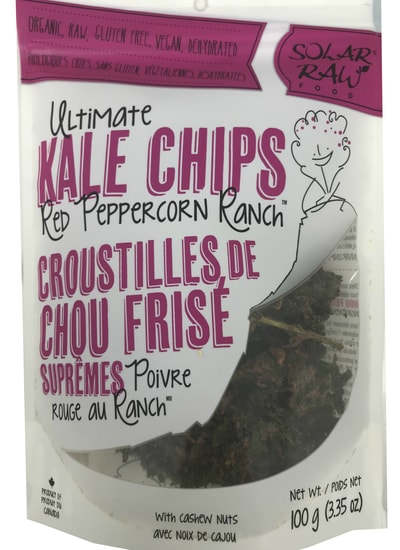 Solar Raw Food Ultimate Kale Chips Red Peppercorn Ranch 100g. Organic, Raw, Gluten-Free, Vegan, Dehydrated