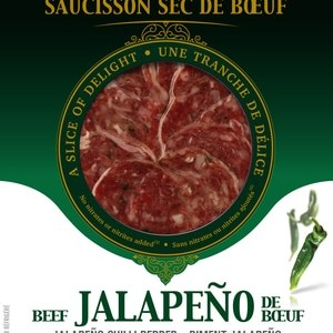 Amsellem Dried Beef Sausage Jalapeno Indian Chilli Pepper 40 Slices | 80g