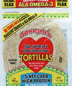 Joseph's Bakery Flax, Oat Bran And Whole Wheat Flour Tortillas 255g. Low Carb, Low Saturated Fat, High Protein, No Cholesterol, Kosher Tortillas Bread