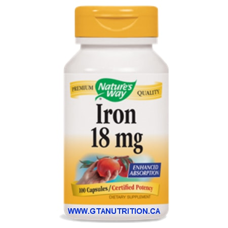 Nature's Way Iron 18mg 100 Capsules. A Dietary Supplement