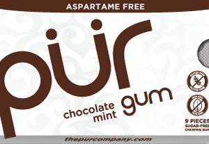 PUR Gum Aspartame Free Chocolate Mint Sugar Free All-natural Flavors Allergen Free Vegan Non-GMO