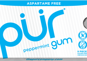 PUR Gum Aspartame Free Peppermint Sugar Free All-natural Flavors Allergen Free Vegan Non-GMO xylitol, gum base, gum arabic, natural flavors, glycerol, carnauba wax, tocopherols