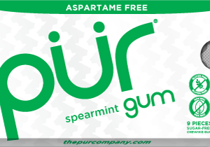PUR Gum Aspartame Free Spearmint Sugar Free All-natural Flavors Allergen Free Vegan Non-GMO