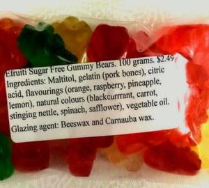 Sugar Free Assorted Efruit Gummi Bears 100g.