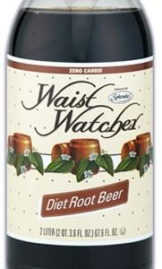 Waist Watcher Root Beer Sugar Free Diet Soda 2 Liter Bottle. No Calories, Zero Carbs, Sugar Free, Aspartame Free, Caffeine Free, Sodium Free, Kosher