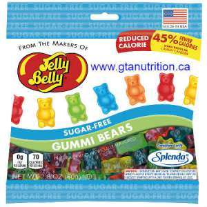 Jelly Belly Sugar Free Gummi Bears 80g Fat Free, Gluteen Free, Peanut Free, Low Carb, Kosher and Sweetened With Splenda