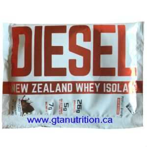 Diesel New Zealand Whey Isolate Protein - Milk Chocolate 30g. DIESEL NEW ZEALAND WHY ISOLATE PROTEIN IS VEGETARIAN, UNDENATURED, NON GMO, NO MSG, MADE WITH NATURAL INGREDIENTS AND IT'S FREE OF BANNED SUBSTANCE, LACTOSE, GLUTEN, ASPARTAME, AND NUT.