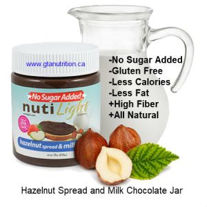 NutiLight Spread No Sugar Added Hazelnut Spread and Milk Chocolate Jar 312g | Low Carb, Less Calories, Less Fat, Gluten Free, Soy Free, NON GMO and Kosher