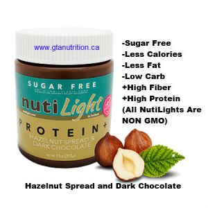 NutiLight Spread Sugar Free Protein+ Hazelnut and Dark Chocolate 312g | Low Carb, Less Calories, Less Fat, Sugar Free, Gluten Free, Soy Free, NON GMO, Vegan and Kosher