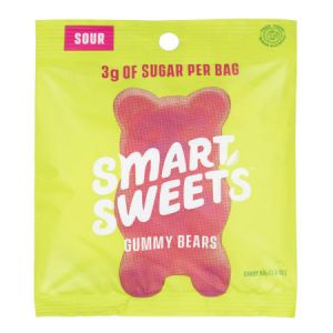 Smart Sweets Sour Gummy Bears Free From Sugar Alcohol 50g | Kick Sugar Keep Candy | A Mix Flavors of Raspberry - Apple - Lemon - Peach
