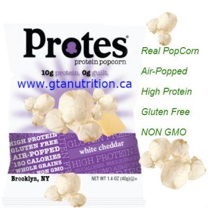 Protes Protein Popcorn Protes Protein Snack White Cheddar 40g. It is Boosted With Whey Protein. 10g Protein 0g Guilt. Kosher