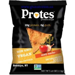 Protes Protein Chips Zesty Nacho 113g. It is Made With Pea Protein. 15g Protein 0g Guilt. Kosher