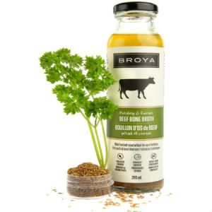 Broya Organic Parsley & Cumin Beef Bone Broth 295ml. Made with organic ingredients, Non-GMO, Gluten-Free, Paleo-Friendly, Not from concentrate